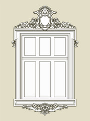 Vintage decorated window with gypsum relief. Vector illustration.