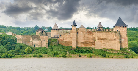 Panorama of Khotyn fortress on bank of Dniester river, Ukraine