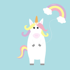 Unicorn holding rainbow cloud baloon. Kawaii face. Pastel color hair, daisy chamomile flower. Flat lay design. Cute cartoon baby character. Funny horse. Happy Valentines Day. Love card Blue background