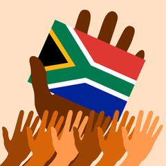 Nelson Mandela International Day. 18 July. Flag in hand of the Republic of South Africa. Raised Hands