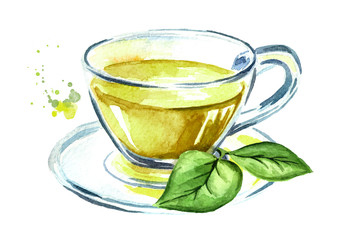 Cup with green tea with tea leaves. Watercolor hand drawn illustration, isolated on white background