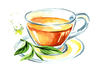 Cup with tea with green tea leaves. Watercolor hand drawn illustration, isolated on white background