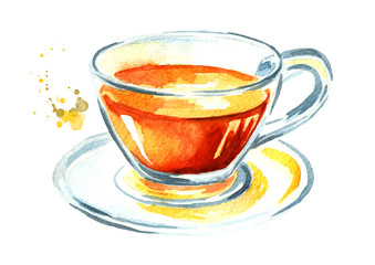Cup with tea. Watercolor hand drawn illustration, isolated on white background