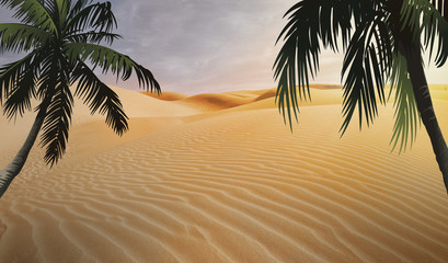 compositing in egypt desert and palm