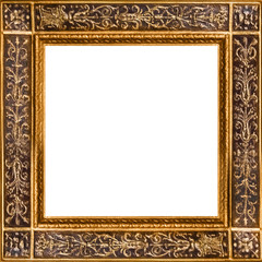 Gold wooden square frame with ornament. Isolated on white