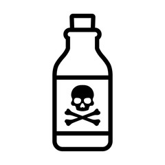 Bottle of poison or poisonous chemical toxin with crossbones label line art vector icon for games and websites