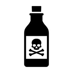 Bottle of poison or poisonous chemical toxin with crossbones label vector icon for games and websites