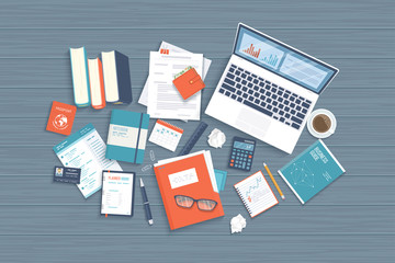 Workplace Desktop background. Top view of laptop, books, folder with documents, notepad, purse, calendar, headphones, glasses, books, pencil, coffee, crumpled paper on a wooden table Vector