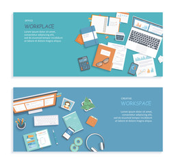 Set of desktop workplace banners backgrounds. Documents, graphics, folders, notebook, laptop, monitor, envelope, pen, calendar. Workspace, analytics, optimization, management. Vector