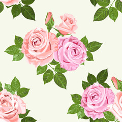 Pale pink and beige roses vector seamless pattern