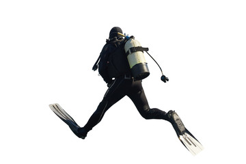 Jumping Scuba Diver Rear View on Isolated White