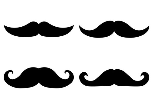 Set of Moustache Icon and Label. Father's Day. Flat style. Vector illustration