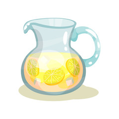 Glass jar of refreshing beverage with slices of lemons and ice cubes. Sweet lemonade. Flat vector design for menu or promo poster