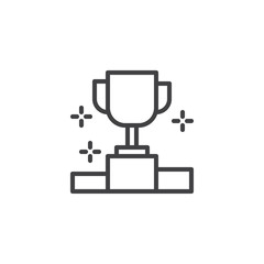 First place cup outline icon. linear style sign for mobile concept and web design. Winner podium simple line vector icon. Symbol, logo illustration. Pixel perfect vector graphics