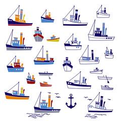 働く船のイラスト,