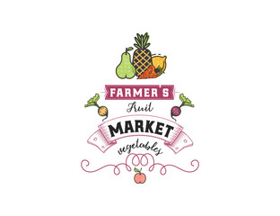Fruits and vegetables, vegetarian banner Farmer's Market , isolated color vector icons.
