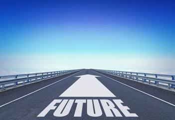 Straight motorway with a forward arrow and text Future. Concept of moving into the future