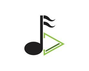 Music note icon logo design template