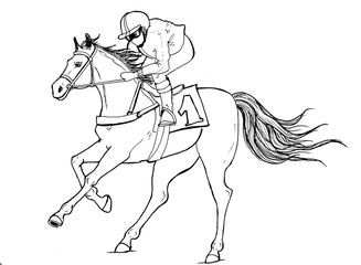 Realistic horses pencil drawn races hore in gallop motion. Animal design.