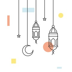 hanging arabic traditional lantern lamp ramadan kareem illustration line outline style