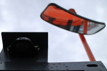 Image of the curved mirror of the front view of the bulldozer. Image of the front view camera of the bulldozer.