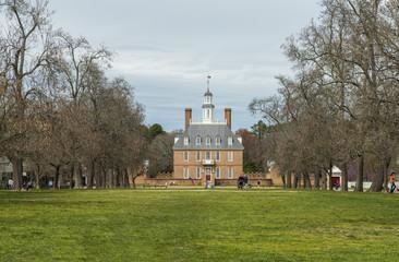Williamsburg, Virginia , USA - April 1, 2018 : The Governors Palace Building in Colonial Williamsburg, Virginia