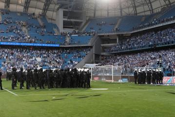 Police secure a pitch during Polish Championship match between Legia Warszawa and Lech Poznan in Poznan