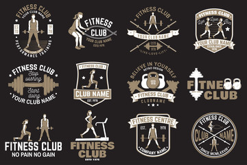 Fitness club badges. Vector. For fitness centers emblems, gym signs and others.