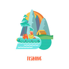 Camping.  Summer holidays in a tent on the nature. Vector illustration.