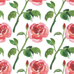 Seamless pattern of watercolor red rose flowers