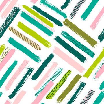 Seamless vector abstract pattern with brush strokes. Hand-painted texture. Pink green brushstrokes on a white background. For printing on different subjects. Modern Vintage Style.