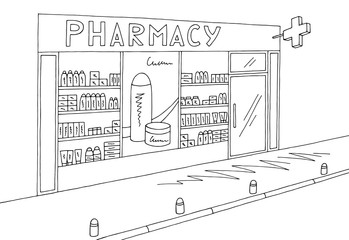 Pharmacy store shop exterior graphic black white sketch illustration vector