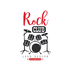 Rock club logo design, emblem for rock club or festival vector Illustration on a white background