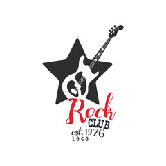 Rock club logo, est. 1976, design element with guitar can be used for poster, banner, flyer, print or stamp vector Illustration on a white background