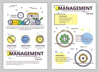 Vector line art management poster banner template