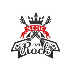 Rock music est. 1979 logo, design element with with electric guitars and crown can be used for poster, banner, flyer, print or stamp vector Illustration on a white background