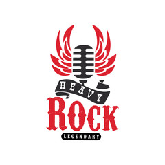 Heavy Rock logo, emblem with vintage microphone and wings for rock band, festival, guitar party or musical performance vector Illustration on a white background