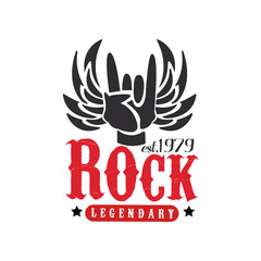 Rock legendary est. 1979 logo, design element with Rock and Roll hand gesture and wings can be used for poster, banner, flyer, print or stamp vector Illustration on a white background