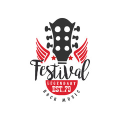 Rock music festival, legendary est. 1979 logo, design element can be used for poster, banner, flyer, print or stamp vector Illustration on a white background