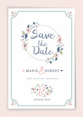 Save the date. Wedding invitation card design template with botanical desig elements. Stationery design. Vector illustration