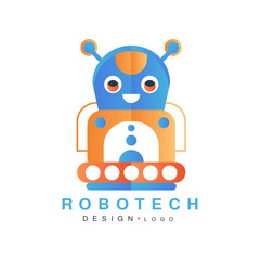Robotech logo design, badge with robot for company identity, technology or computer related services vector Illustration on a white background