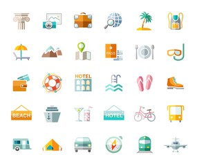 Travel, vacation, tourism, vacation, icons, flat, colored, vector. Different types of holidays and ways of travelling. Colored, flat pictures on a white background. Vector.