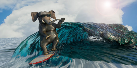 3D Illustration of a elephant is surfing the sea as a symbol of recreation and sport