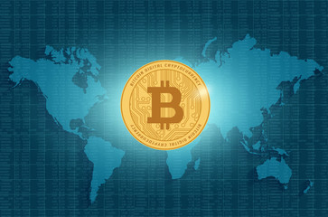Bitcoin digital currency on world map background. Vector illustration