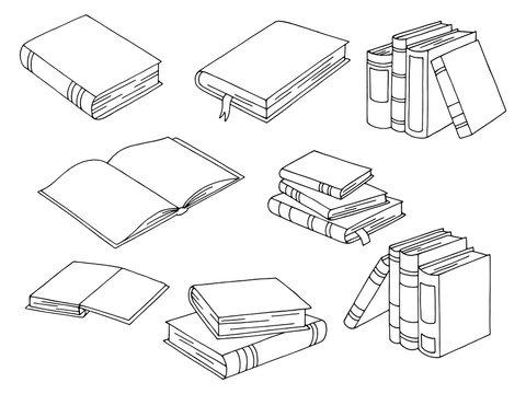 Books set graphic black white isolated sketch illustration vector