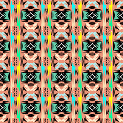 Folk ornamental vector aztec seamless pattern. Tribal abstract colorful background. Ethnic ornament. Decorative tribe design for fabric, textile, printing. Patterned texture