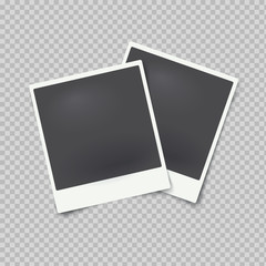 Vector mock up of empty photo frames on transparent background.