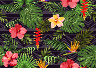 Seamless pattern with exotic flowers and tropical leaves