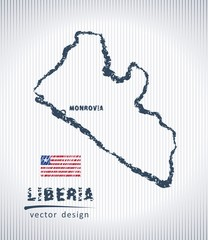 Liberia national vector drawing map on white background
