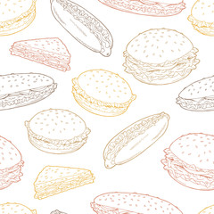 Hamburger graphic fast food color sketch seamless pattern background illustration vector